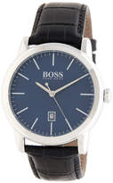 HUGO BOSS Men's Classic Croc Embossed Leather Watch, 42mm