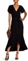 WEST KEI Flutter Sleeve High/Low Wrap Dress