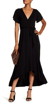WEST KEI Flutter Sleeve High/Low Wrap Dress