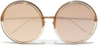 Linda Farrow Round-frame Rose Gold-tone And Acetate Mirrored Sunglasses