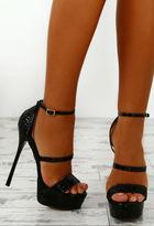 Pink Boutique Speed Dial Black Metallic Platform Heels
