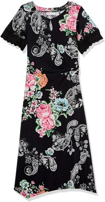 Rafaella Women's Petite Paisley Floral Handkerchief Dress with Twist Waist and Keyhole Neckline