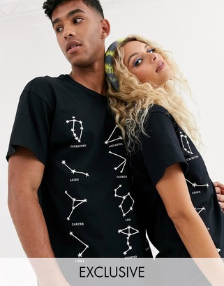 Reclaimed Vintage unisex oversized t-shirt with constellation print-Black