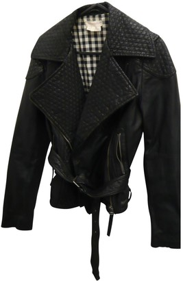 Wrangler Black Leather Leather Jacket for Women