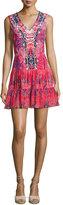 Saloni Elodie-B Sleeveless Printed Day Dress, Multicolor