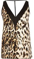 River Island Womens Brown leopard print T-bar cami top