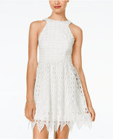 City Studios Juniors' Sleeveless Lace Fit & Flare Dress