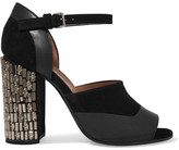 Marni Embellished Suede And Leather Sandals - Black
