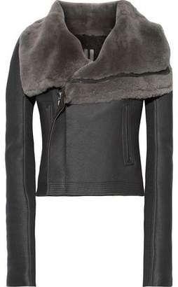 Rick Owens Classic Cropped Shearling Biker Jacket