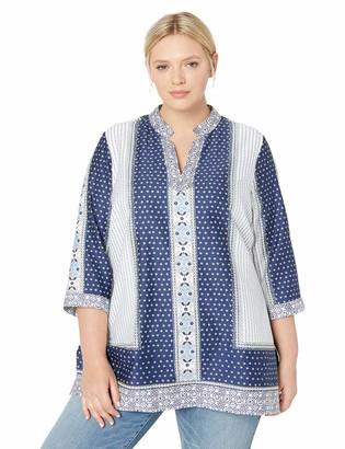 Foxcroft Women's Plus Size Angelica Scarf Print Tunic