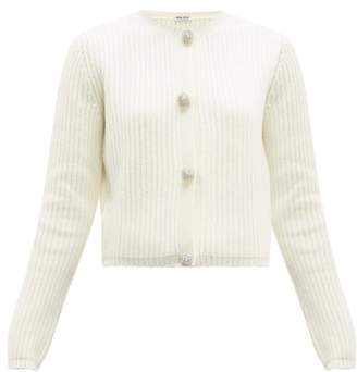 Miu Miu Crystal-button Ribbed Cashmere Cardigan - Womens - Ivory