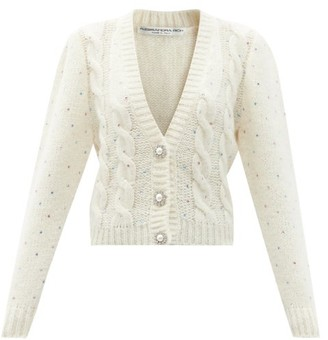 Alessandra Rich Crystal-embellished Alpaca-blend Cardigan - White