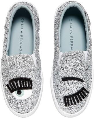 Chiara Ferragni Flirting Eye Glittered Slip-On Sneakers