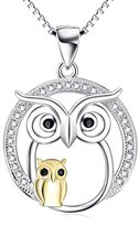 Pretty Jewellery Mom & Baby Owl Pendant Necklace in 14K Two-Tone Gold Fn S925 W/ Black & White Diamond