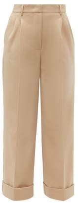 Fendi Turned Up Cuff Twill Trousers - Womens - Beige