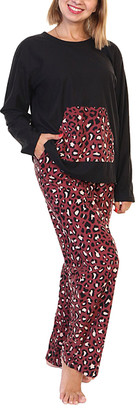 Angelina Women's Sleep Bottoms Brick - Black & Red Leopard Kangaroo-Pocket Long-Sleeve Pajama Set - Women & Plus