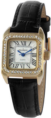 Peugeot Womens Gold Tone And Black Roman Numeral Leather Strap Watch 3052BK