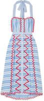 Temperley London Trelliage Embroidered Striped Cotton-poplin Midi Dress - Blue