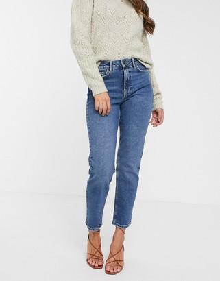 Vero Moda organic cotton straight leg jeans in mid blue
