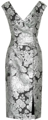 Erdem Metallic floral jacquard dress