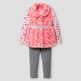 Young Hearts Toddler Girls' Faux Fur Vest, Top & Legging - Coral
