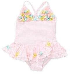 Little Me Girls' Floral Applique Striped One-Piece Swimsuit - Baby