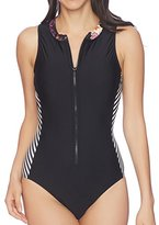 Splendid Women's Electric Bloom High Neck Zip One Piece Swimsuit