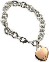 GUESS Two-Tone Heart Charm Link Bracelet