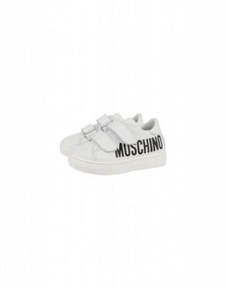 Moschino Leather Sneakers With Strap And Maxi Logo Unisex White Size 22 It - (5.5k/6k Us)