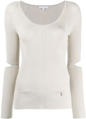 Patrizia Pepe Split-Sleeve Ribbed Top