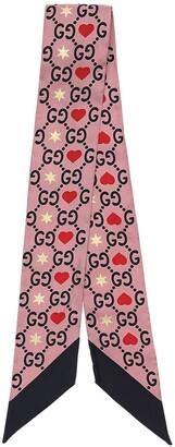 Gucci Gg Printed Silk Bow Scarf