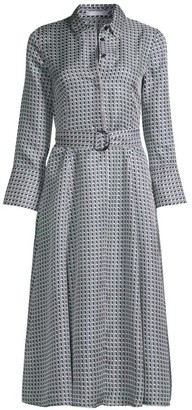 HUGO BOSS Danimala Silk Twill Geometric Print Shirt Dress