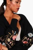 boohoo Aisha Embroidered Puff Sleeve Cardigan
