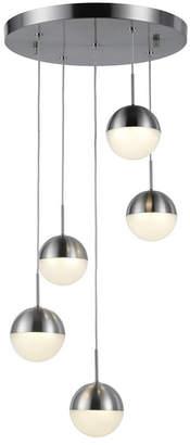 Worldwide Lighting Phantasm 12.5-Watt Matte Nickel Finish Integrated Led Iced Opal Acrylic Pendant Ceiling Light