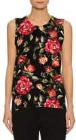 Dolce & Gabbana Rose-Print Cashmere Shell Top, Black
