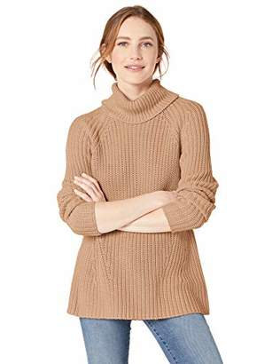 Goodthreads Cotton Half-Cardigan Stitch Turtleneck Sweater Pullover,XS