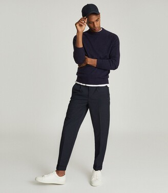 Reiss Franco - Wool Cashmere Blend Jumper in Navy