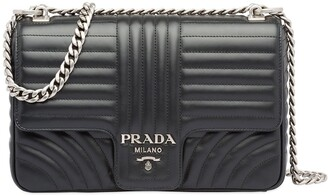Prada Diagramme large leather shoulder bag