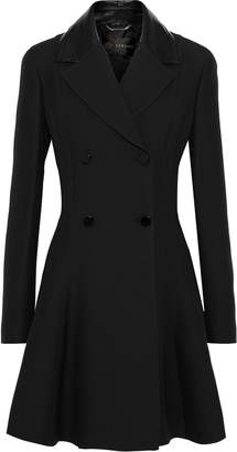Versace Patent Leather-trimmed Wool And Silk-blend Coat