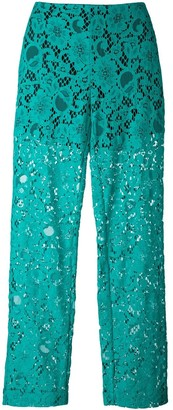 MSGM Semi-Sheer Lace Trousers