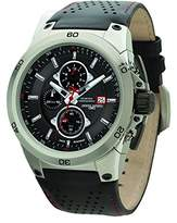 Jorg Gray Men's Quartz Watch with Black Dial Chronograph Display and Black Leather Strap JG7800-21