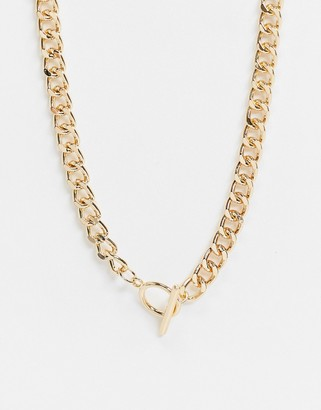 Topshop necklace with t bar in gold