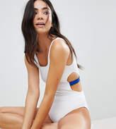 Monki Contrast Cut Out Side Swimsuit