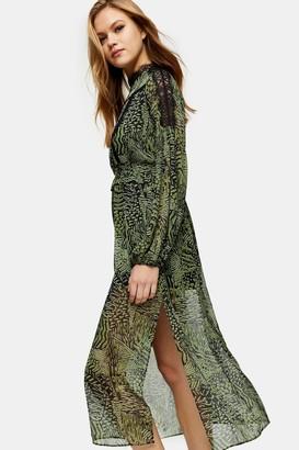 Topshop Green Animal Print Lace Midi Dress
