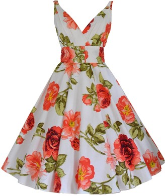 Love Camden 40's 50's Vintage Style Coral Rose Print Flared Cotton Belted Party Bridesmaid Tea Dress (12)
