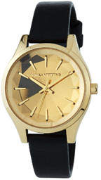 Karl Lagerfeld Paris 36mm Janelle Faceted Watch w/ Leather Strap, Gold/Black