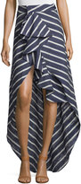 Johanna Ortiz High-Low Striped Silk Midi Skirt, Navy