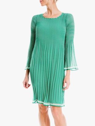 Max Studio Mini 3/4 Sleeve Geometric Print Pleated Dress, Green Tulip Waves