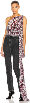 Redemption Asymmetrical Long Knot Top in Pink Leopard | FWRD