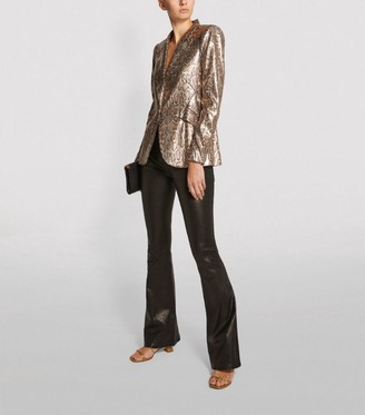 Frame Le High Flared Leather Trousers